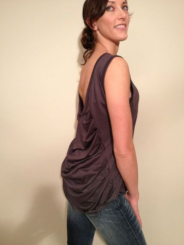 Super Draped Tee U Back Draped Tail Charcoal Size s $31.99 | eBay www.darlingdiscounts.com