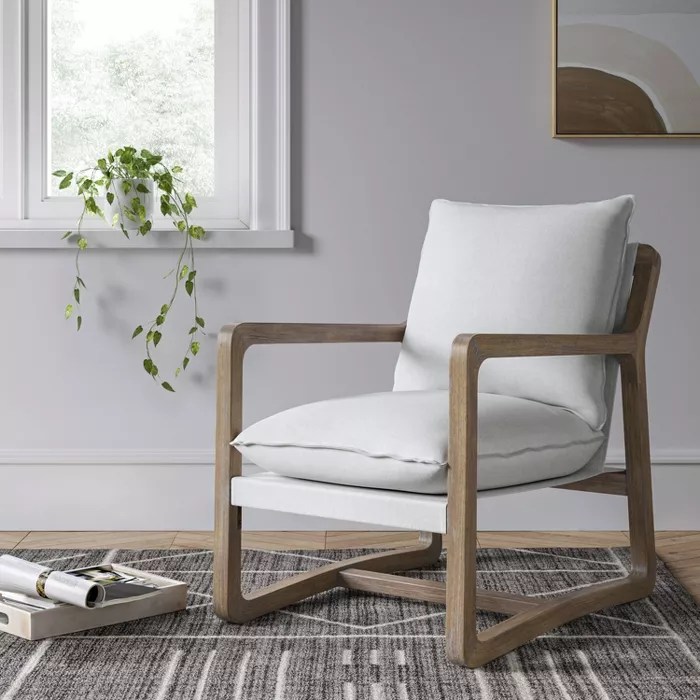 Boda Wood Arm Sling Chair Natural, Accent Chairs With Wooden Arms