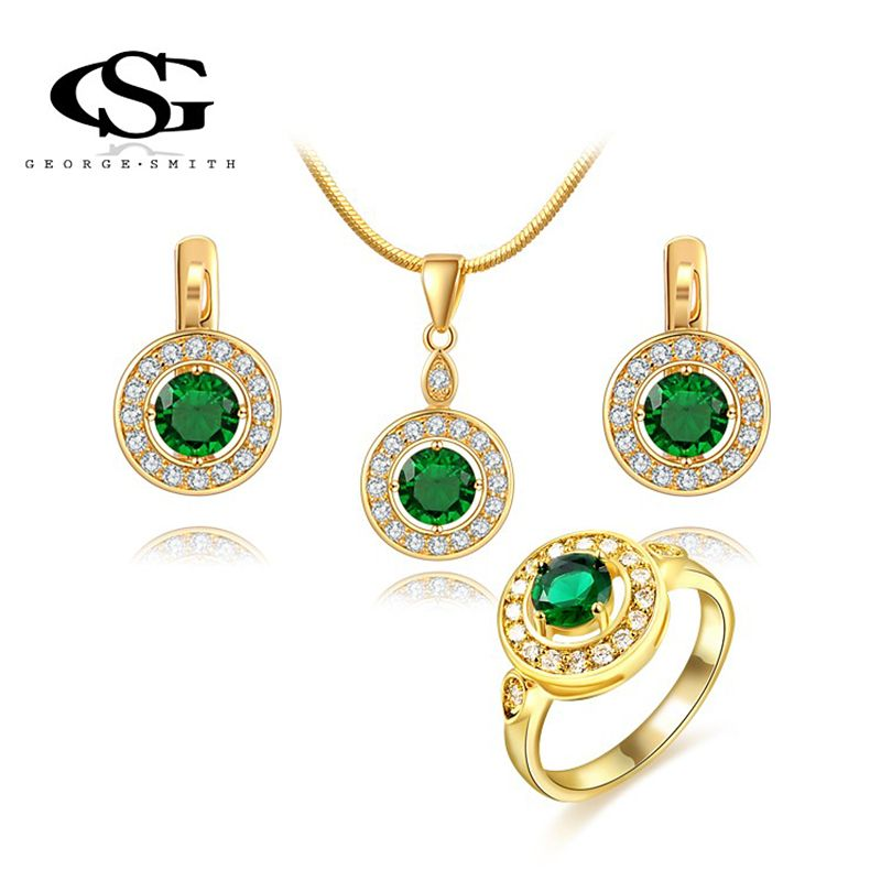 GS Luxury Jewelry Set Rose Gold Plated Green Stone Cubic Zircon