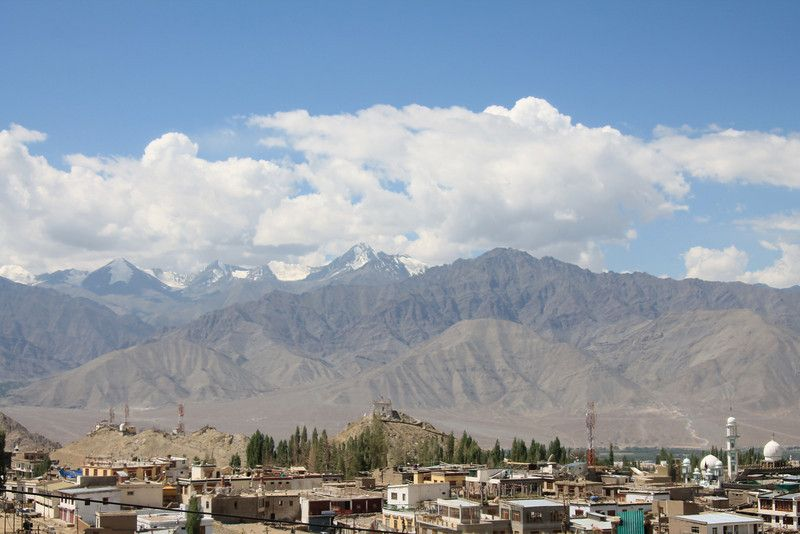 Ladakh - Looking south across Leh onto Stok Kangri at 6153 meters the most popular local trekking peak