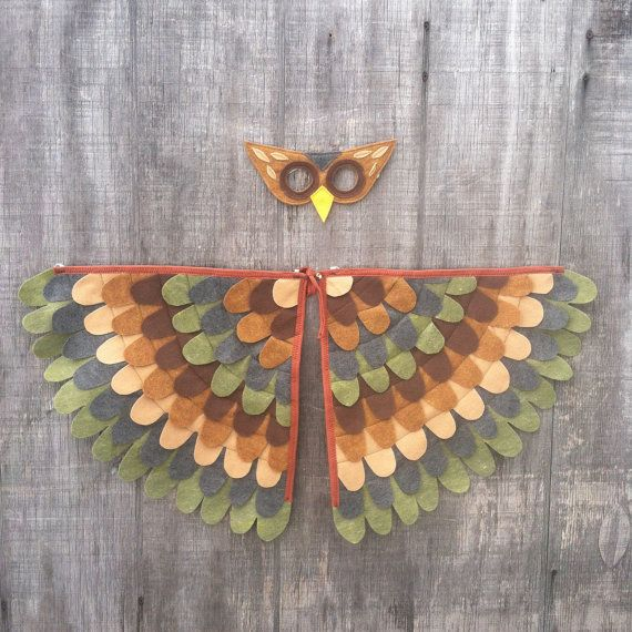 Owl Costume // Wings and Mask // Olive and Brown // Owl Gift // Bird Gift //Soft flappable wings amazing in flight! & Owl Costume // Wings and Mask // Olive and Brown // Owl Gift // Bird ...