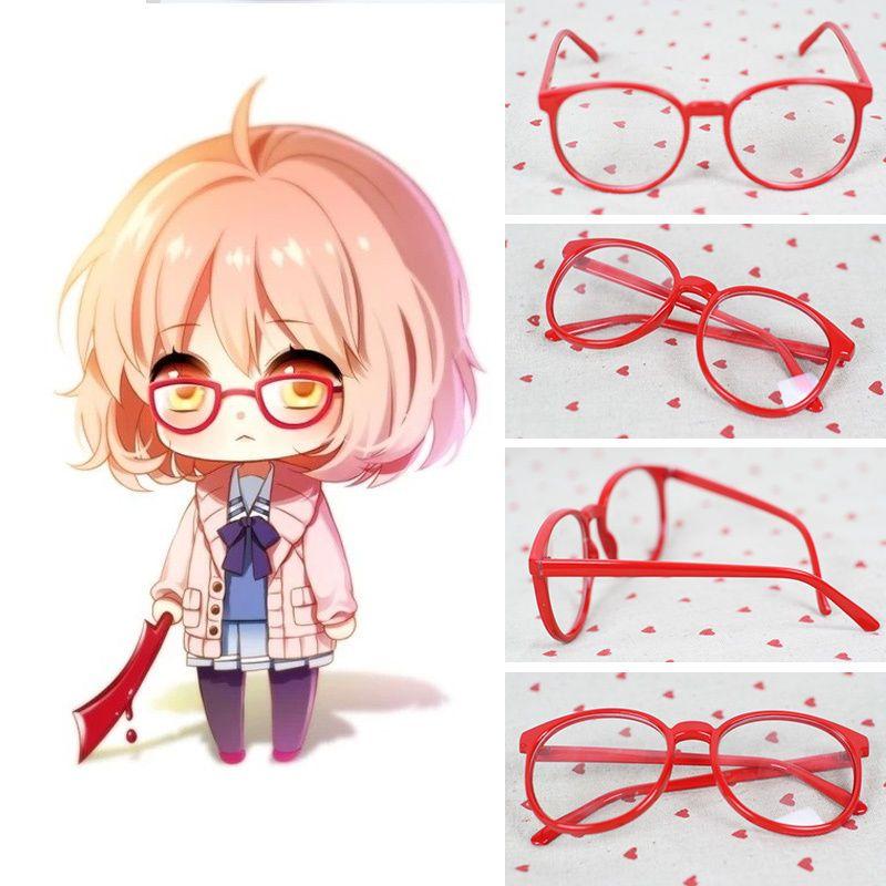 Kyoukai No Kanata Kuriyama Mirai Red Round Glasses Cosplay Accessorie With Lens Kuriyama Anime Collectibles Cartoon Character Costume