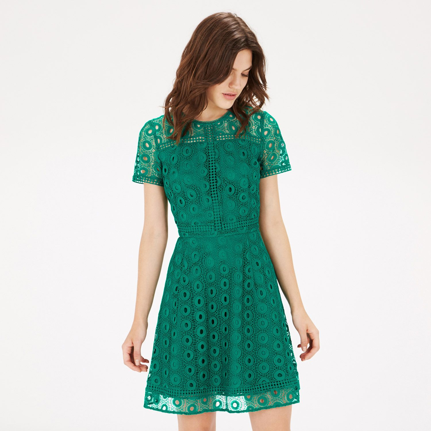 Warehouse, MIXED LACE PROM DRESS Bright Green 3 | wedding guest ...