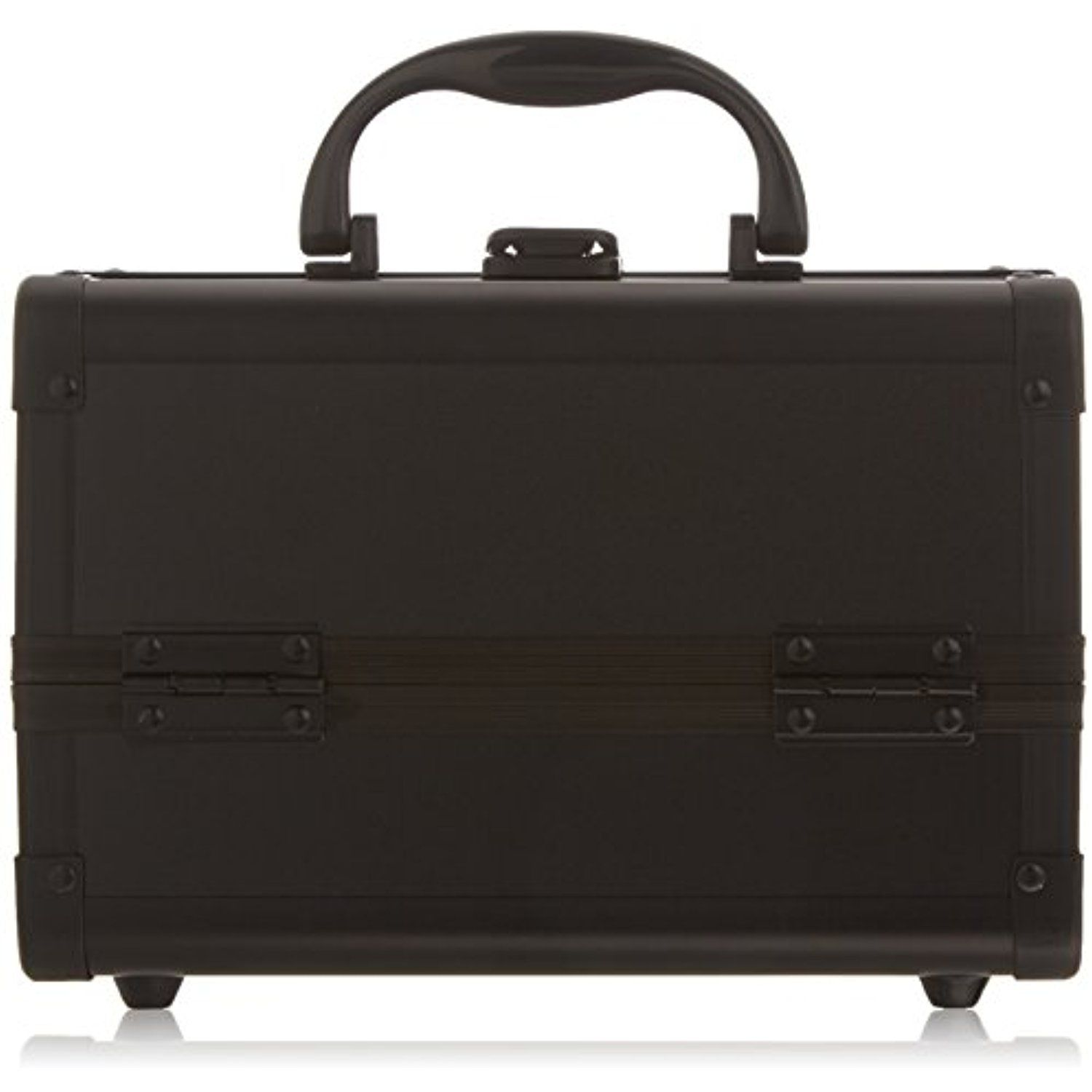 649a46e00 JustCase Cosmetic Makeup Train Case with Mirror and Easy Clean Extendable  Trays, Black Smooth,