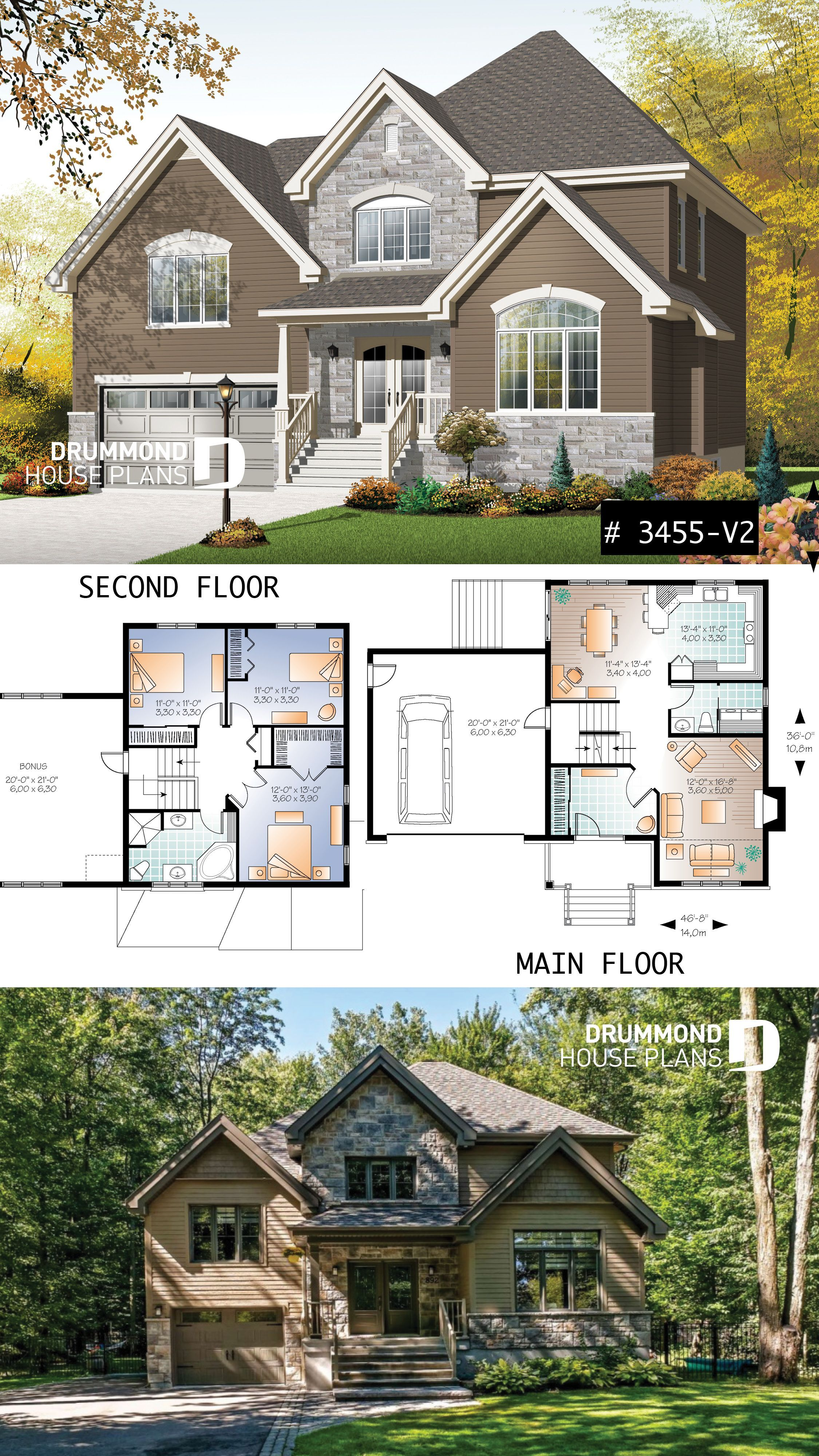 Modern Rustic House Plan With Large Bonus Space Above 2 Car Garage Large Family Rustic House Plans Family House Plans House Plans