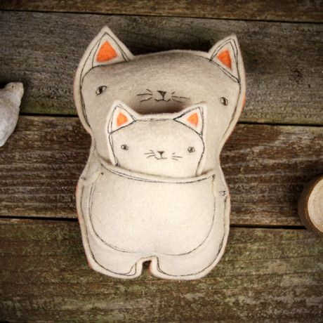 plush pal with baby (tooth fairy pillow)- cat – Kata Golda