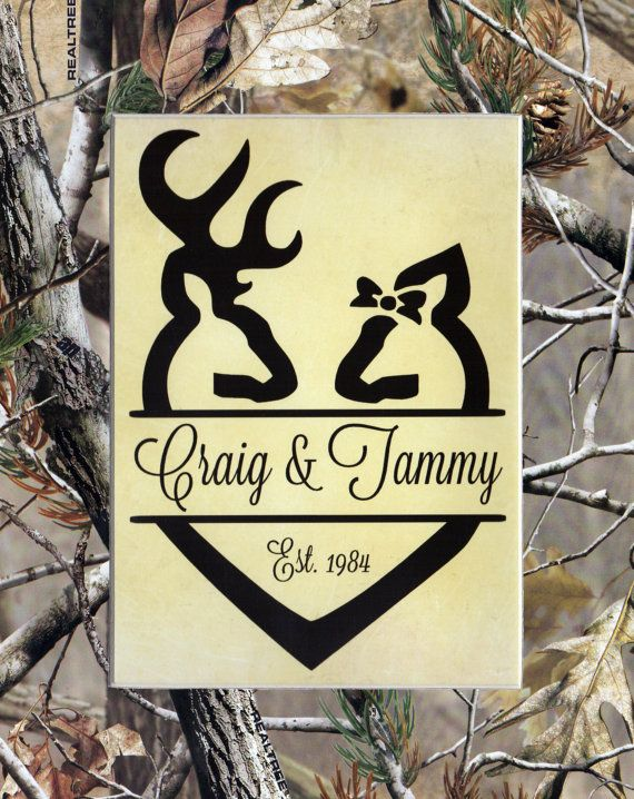 Personalized Realtree Camo Hunting Theme Elished Matted 8x10 Print Wedding Bridal Shower Gift Buck Doe Housewarming Home Decor