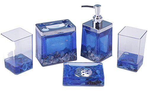 Ocean Bathroom Set | Amc Blue Ocean 5 Piece Bathroom Accessory Set W Seashells Read