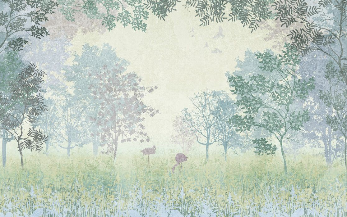 Flamingos In Hazy Forest Affordable Wall Mural Photowall In 2020 Forest Wallpaper Wall Murals Mural