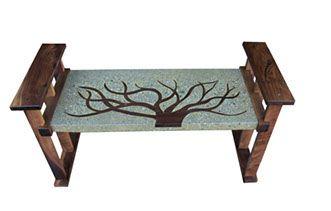 Concrete walnut wood bench by Randy Mugford