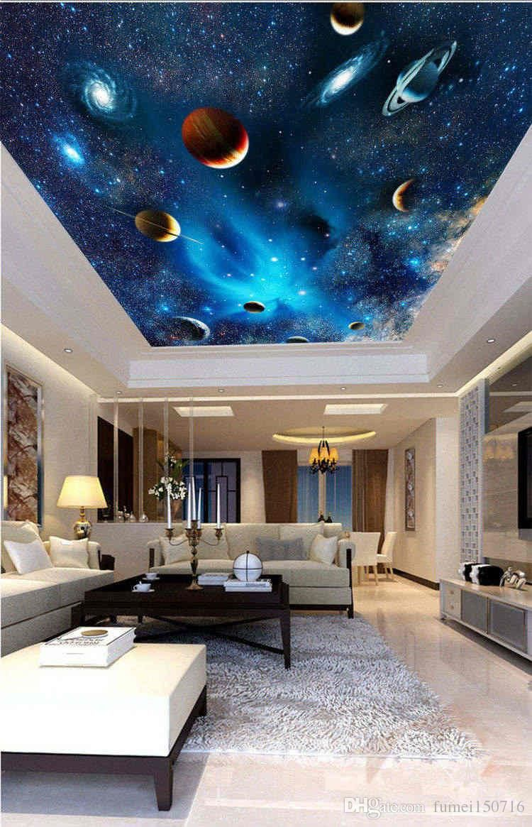 3d Wallpaper Mural Night Clouds Star Sky Wall Paper Background Interior Ceiling Home Decor Wallpaper Ceiling Ceiling Murals Ceiling Design