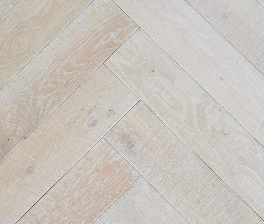 Nordic Winter Light Brushed And White Washed Engineered Wood Herringbone Parquet Blocks Flooring Supply Professional Installation Services