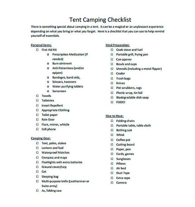Tent Camping Checklist Pdf Format Free Download  Checklist
