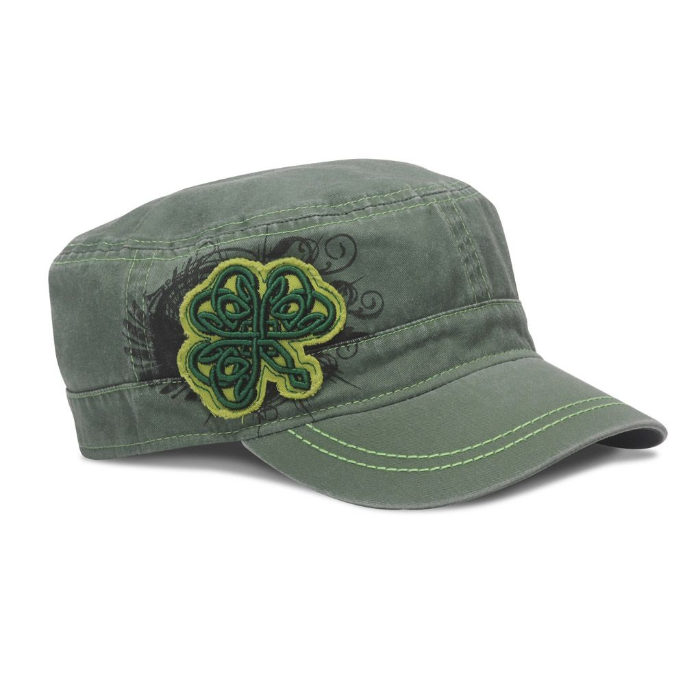 5d19d408 Celtic Shamrock Military Cap Show your true spirit in this trendy  military-style hat adorned with a frayed fabric patch and embroidery  Shamrock on top of ...