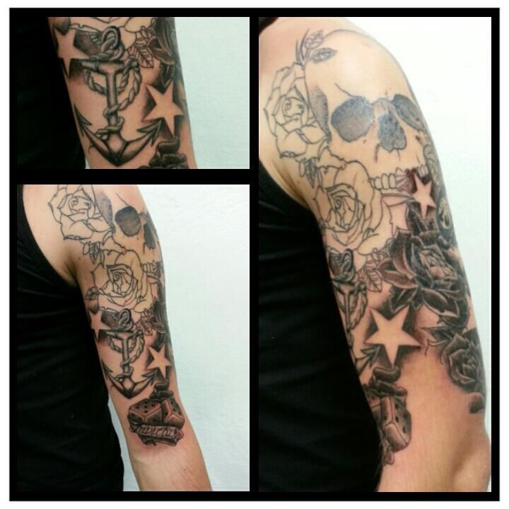 Skull Anchor Roses Stars Sleeve Inprogress Half Healed Rose Tattoos Tattoos Sleeve Tattoos For Women