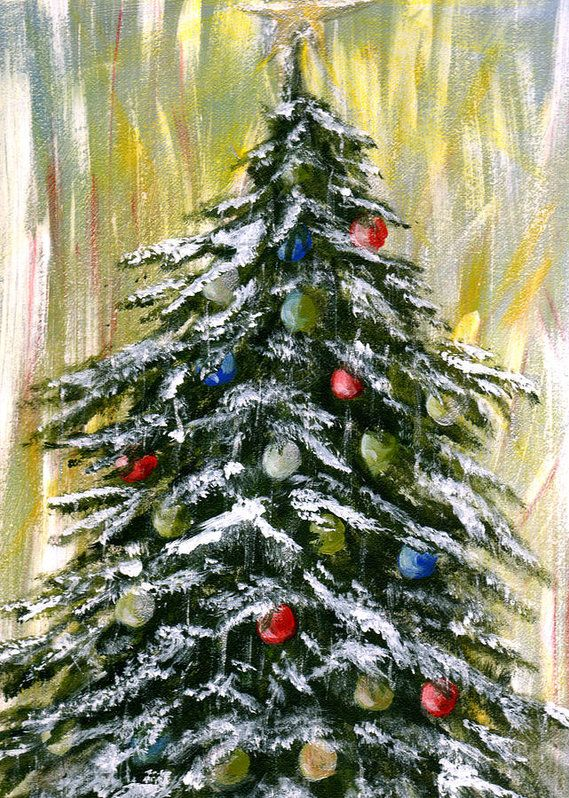 Christmas Tree Painting Art Print By Cherie Taylor Christmas Tree Painting Christmas Paintings On Canvas Christmas Paintings