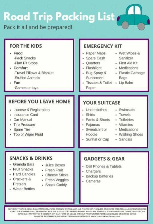 Summer Road Trip Packing List - Juggling Act Mama