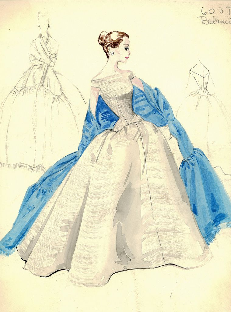 Evening gown sketch by Balenciaga for Bergdorf Goodman, 1950s. | Art ...