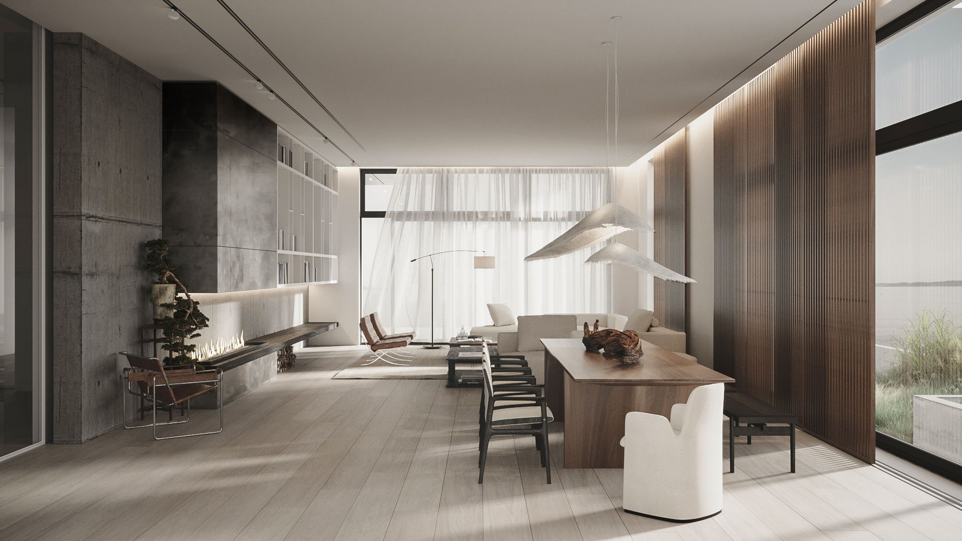 Сoncrete, metal and wood in the living room interior. in