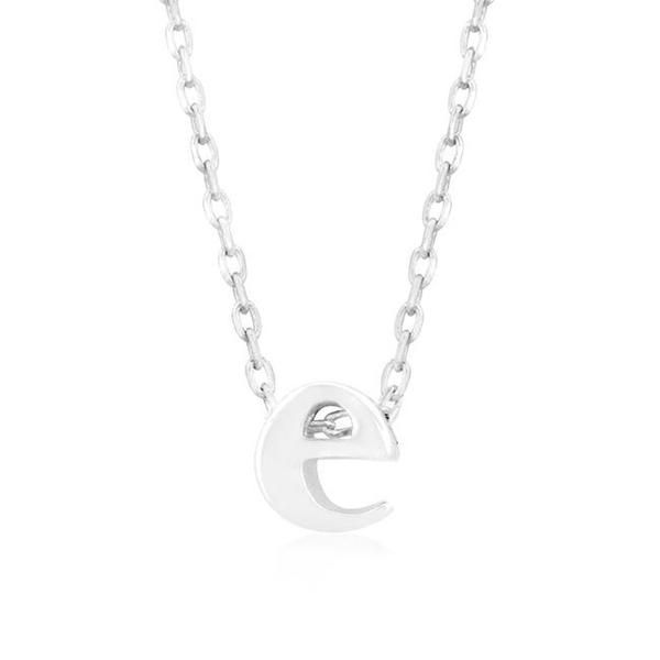 White Gold Rhodium Bonded Simple Initial E Pendant with Lobster Clasp set in Silvertone. All Pendants come with 18 inch chain with 2 inch extender. Crafted in a luminescent silver tone, this adorable initial necklace is a must-have for everyday. Classically on-trend, it's perfect for layering on top of other delicate pieces.