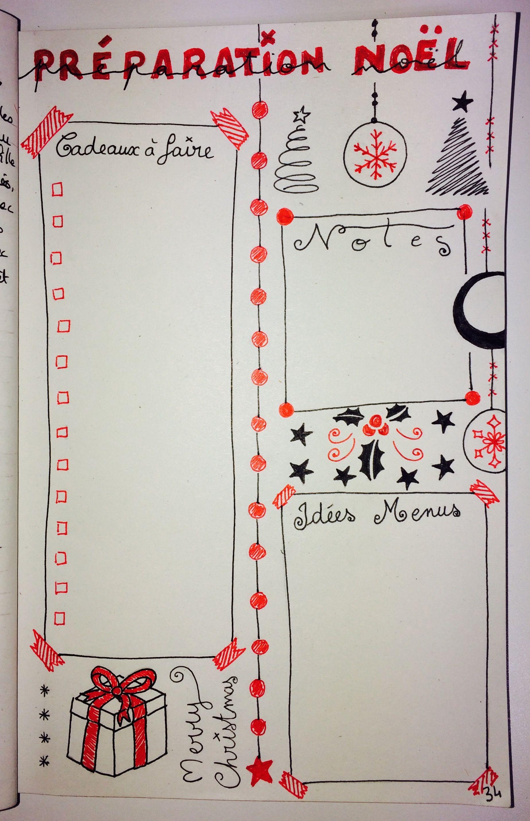 BuJo, Noël, christmas, Bullet Journal, cadeaux, liste