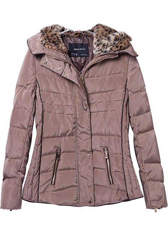 37f38891c Khaki Pink Plain Fur Collar With Hat Padded Coat