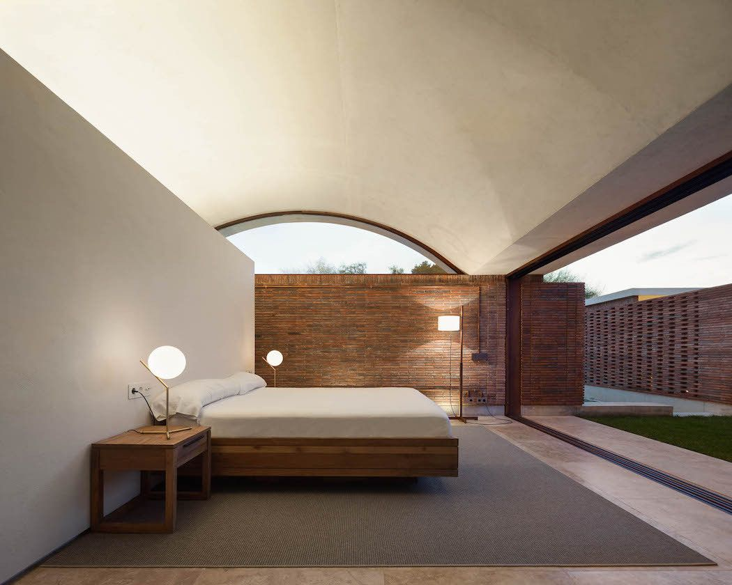Bedroom interior roof a vaulted canopy home in the spanish countryside  canopy spanish