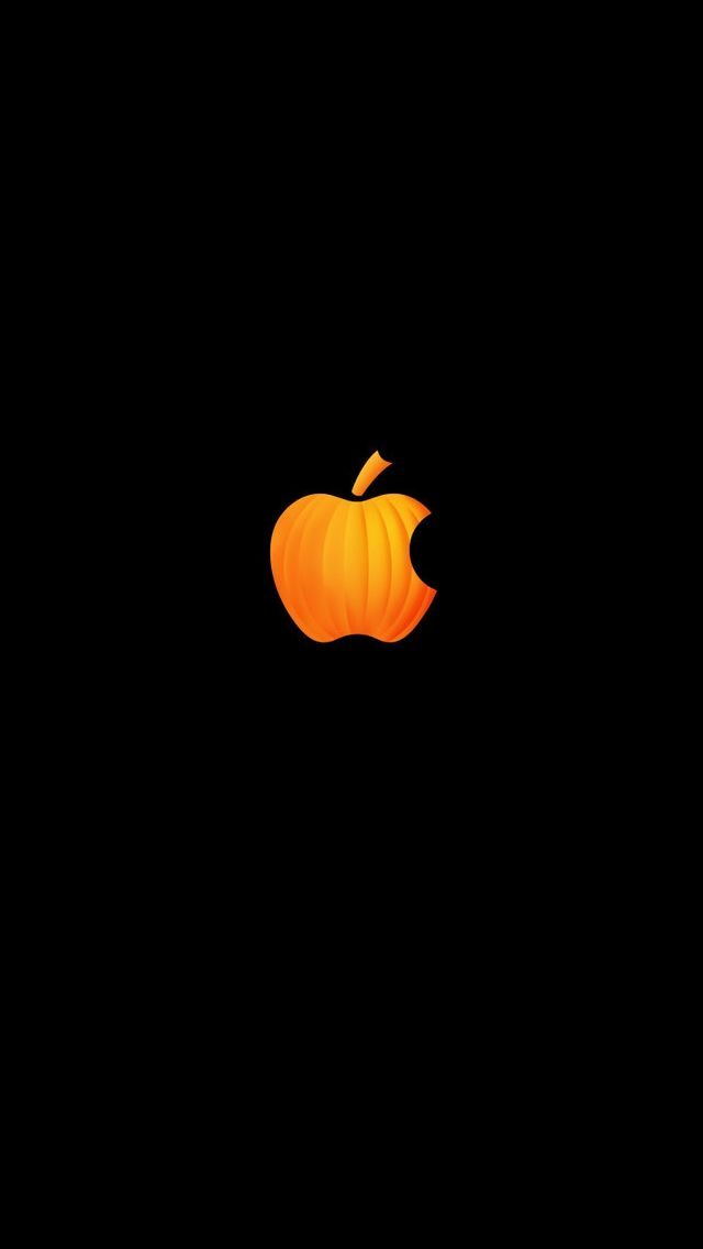 Pumpkin Apple Halloween iPhone Wallpaper! *cute, I never would have thought of that! Lol