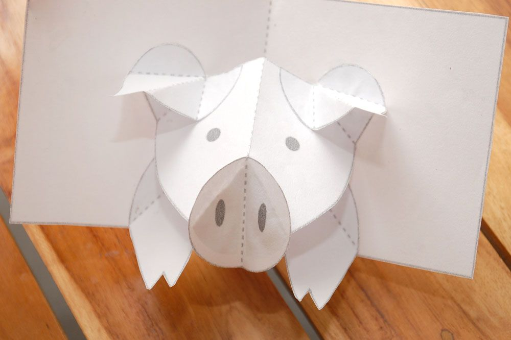 How To Make A Pig Pop Up Card Robert Sabuda Method Pop Up Cards Pop Up Art Pig Crafts