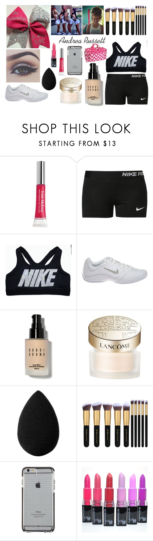 Andrea Russett by haleyjackson13 on Polyvore featuring beauty, Lancôme, Bobbi Brown Cosmetics, beautyblender, Trish McEvoy, Case-Mate, NIKE and Bellezza