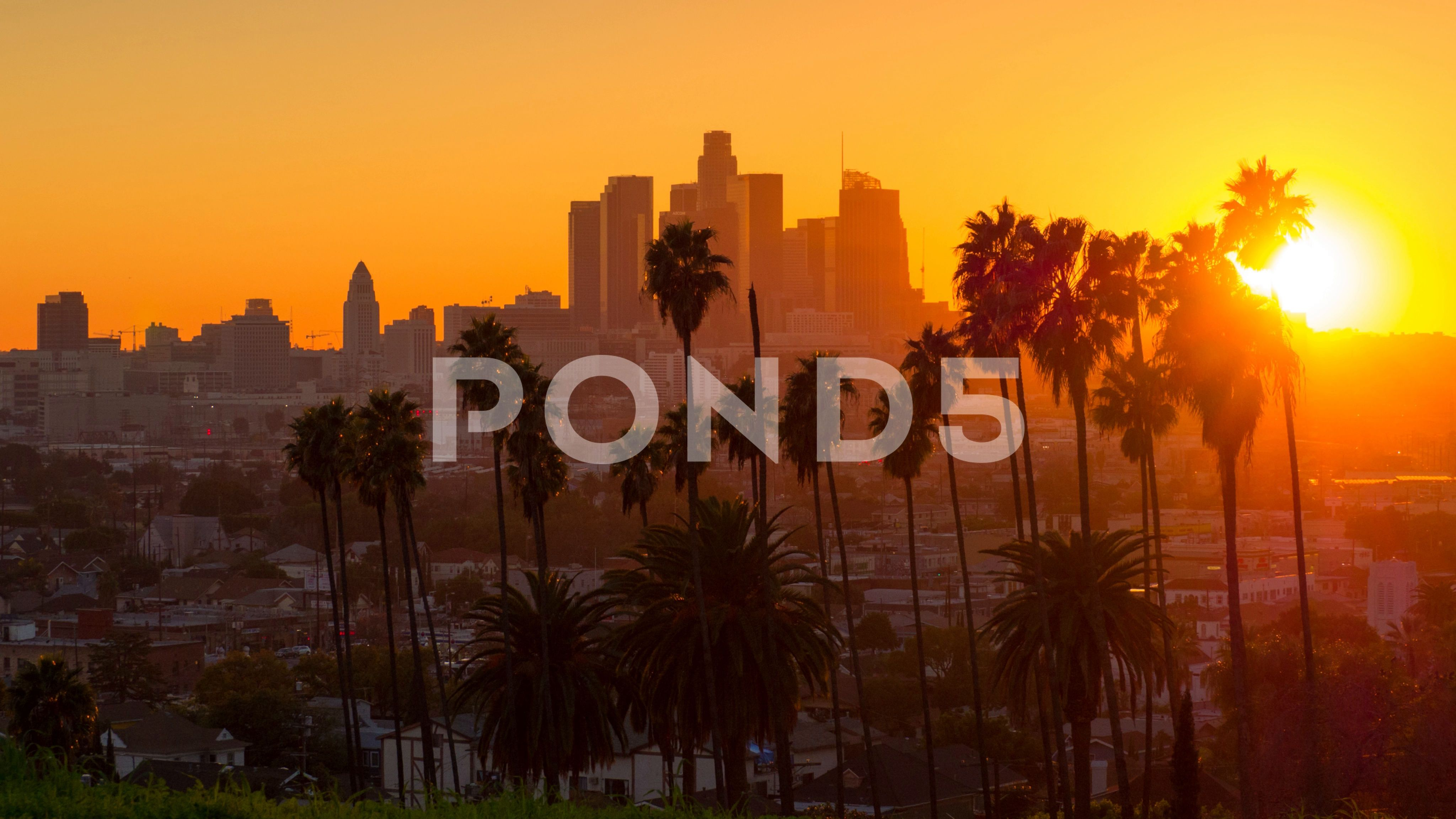Sunset To Night Zoom Out From City Of Los Angeles Downtown Skyline Stock Footage Ad City Los Zoom Sunset City Sunset Skyline