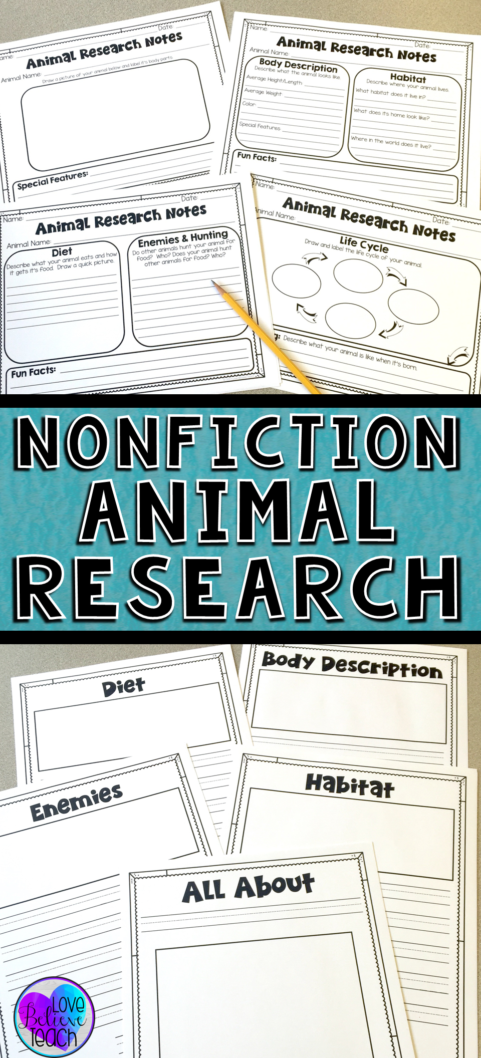 Animal Research Report Nonfiction Writing Unit | Graphic organizers ...
