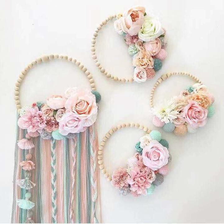 Wooden Beads Garland Tassel Wall Ornament