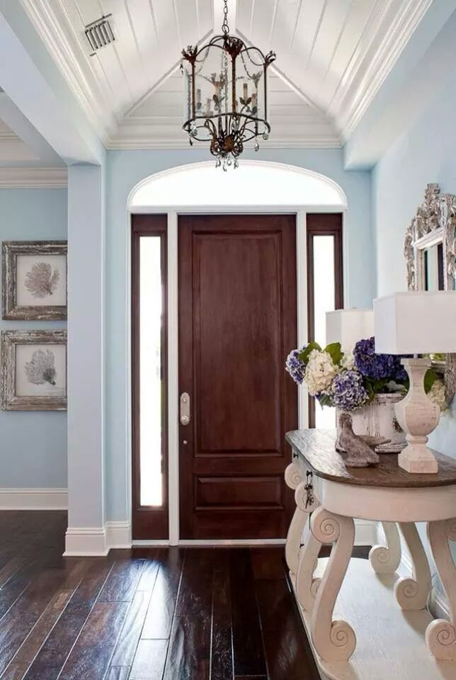 I like the wall colors with the dark wood floor..