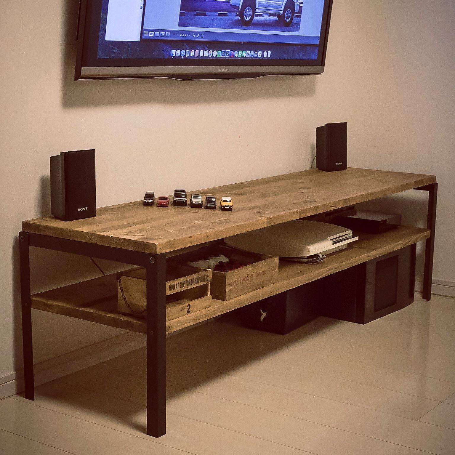 ツーバイ材のテレビ台の塗装 リビング インテリア Diy 手作り家具 インテリア 収納