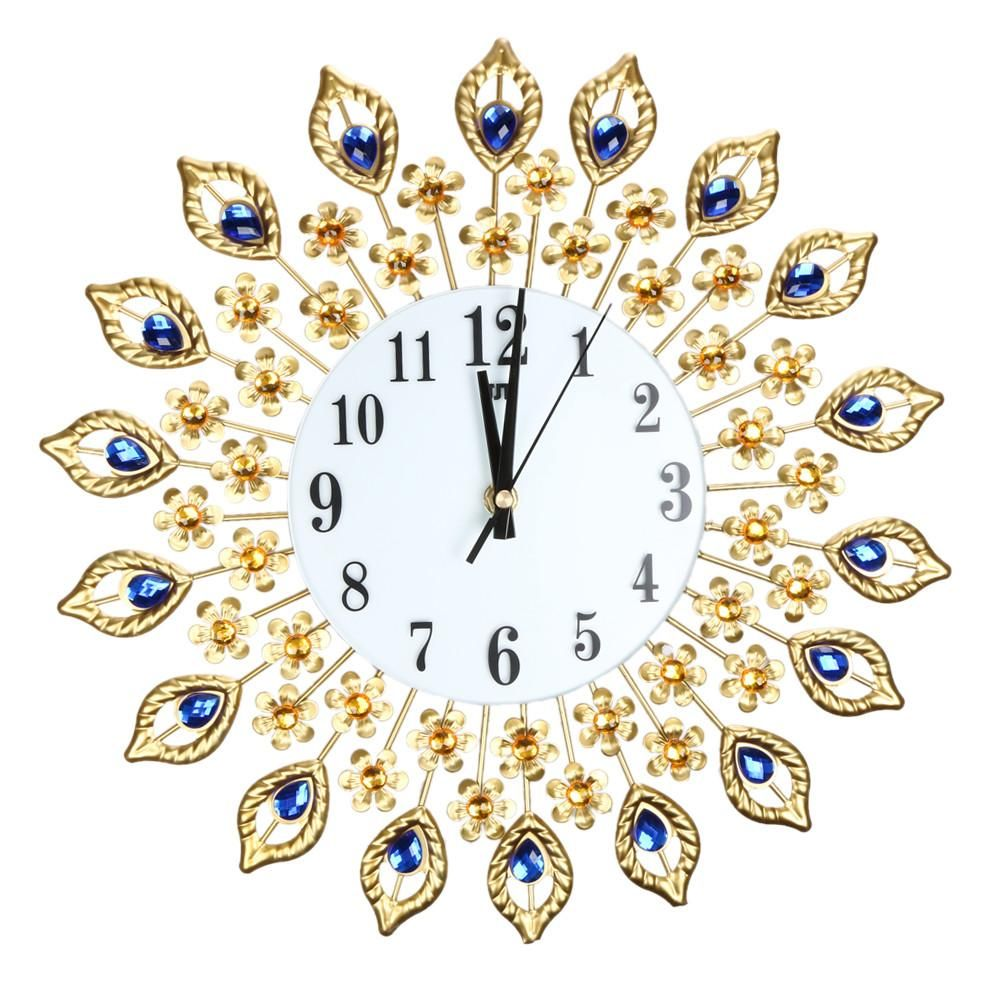 Large Luxury Diamond Crystal Style Vintage Metal Sunburst Wall Clock Modern