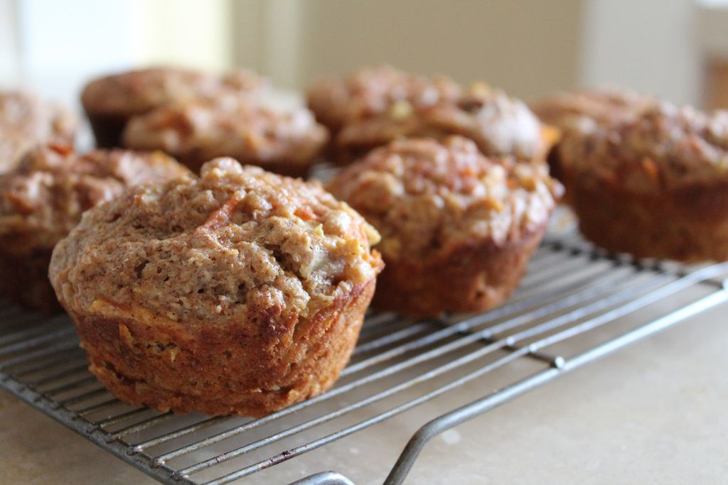 carrot-apple-nut muffins from the moveable feasts