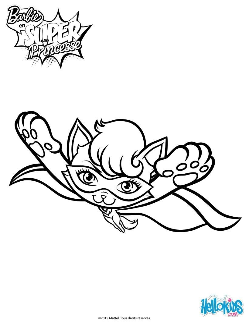 Super Cat In Flight Coloring Page More Barbie Coloring Sheets On Hellokids Com Coloring Pages Barbie Coloring Pages Princess Coloring Pages