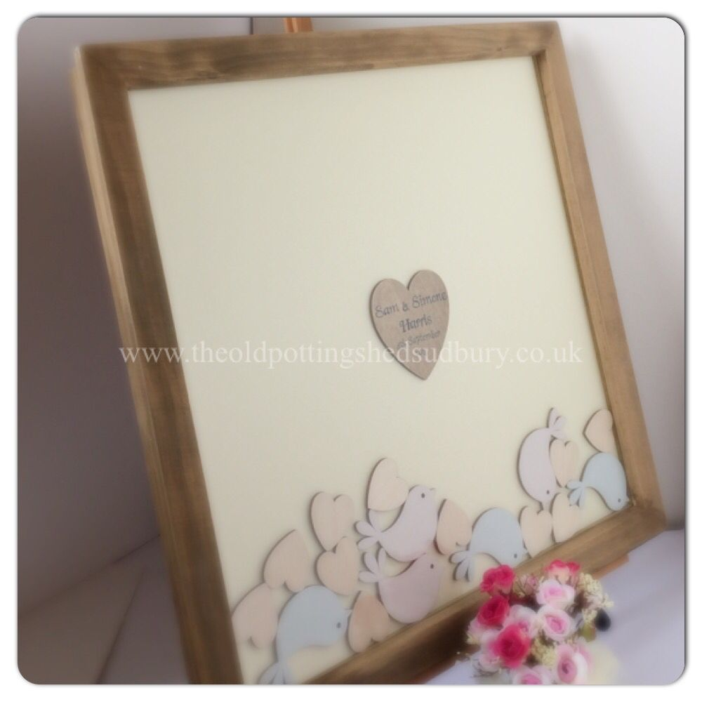 Drop top wedding guest book. Stained frame with a cream card back ...