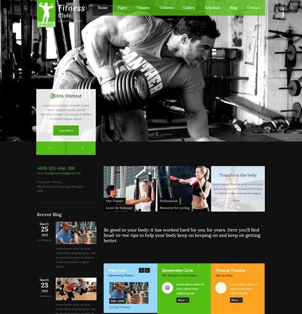 gym fitnesscenter templates gym fitness center website templates