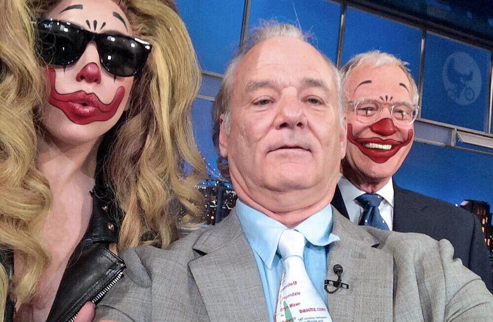 Bill Fucking Murray and some clowns #BFM #BillMurray #LadyGaga #DavidLetterman #Gaga