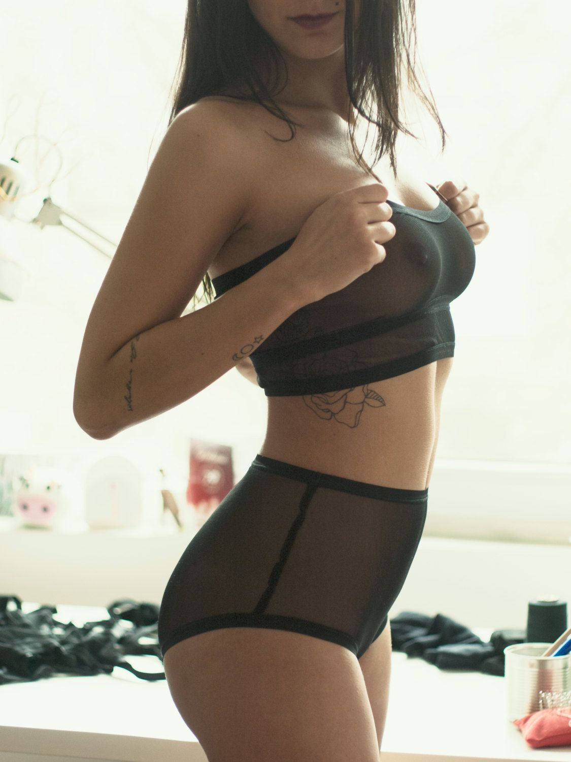 The Princess Me set brings together the basic high waisted panties and the basic bandeau bralette. Beautifully framing your seductive curves,
