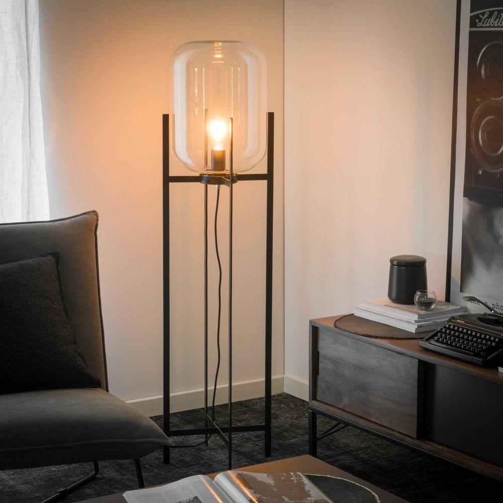Stehlampe aus Glas und schwarzem ... - | möbel | Pinterest | Salons