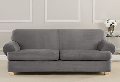 Ultimate Stretch Suede Three Piece Sofa Slipcover Form Fit