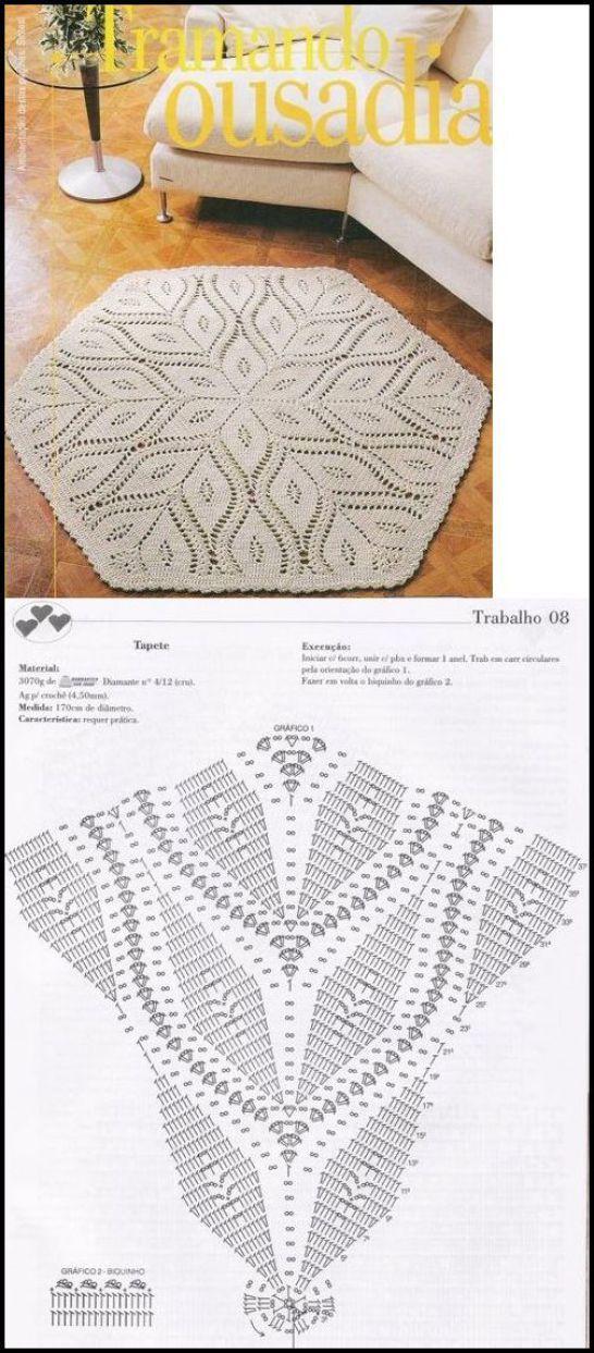 tapete-croche-com-grafico | moldes, patrones y medidas | Pinterest ...