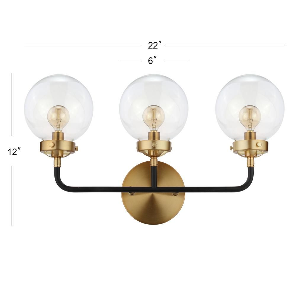 Photo of JONATHAN Y Caleb 22 inch 3-light black / brass wall lamp JYL9011A – The Home Depot