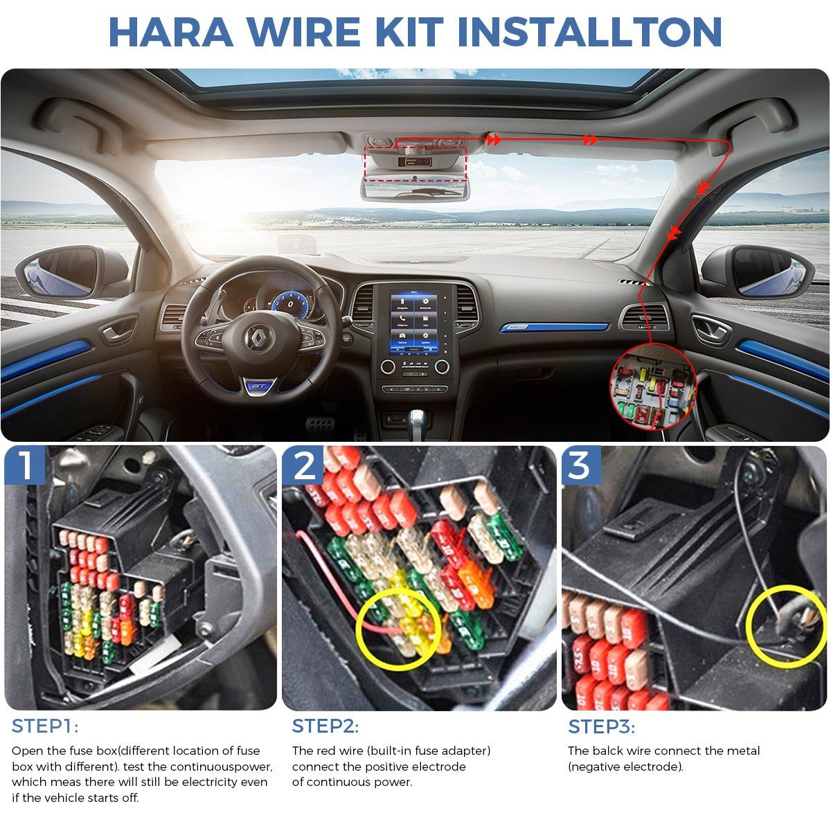 Dash Cam Hardwire Kit Mini USB Hard Wire Car Charger Cable Kit 12V to 5V for
