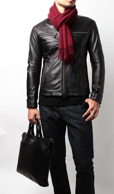 ブラックのレザージャケットで硬派な印象のコーディネート >http://bbl-shop.com/?mode=f683