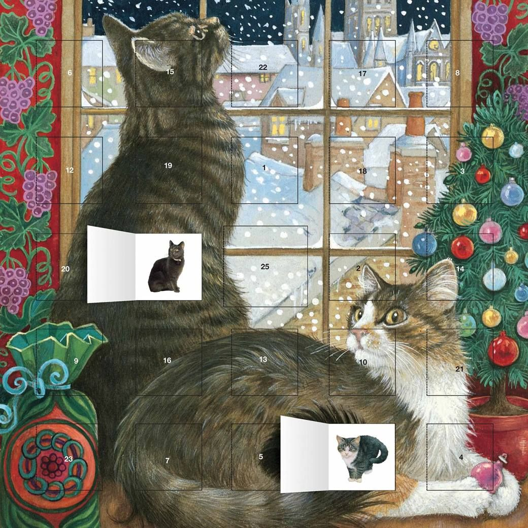 Ivory Cats Christmas Window Advent Christmas cats