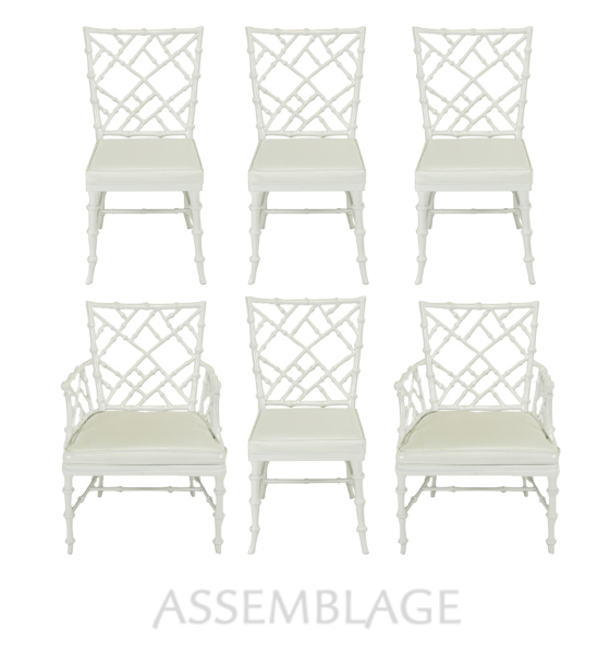Set of six Phyllis Morris white lacquered Chinese chippendale dining chairs constructed of cast aluminum and white vinyl seats